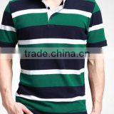 cotton/polyester ,160gsm, single jersey pique, rib collar, yarn-dyed stripe, short sleeve, men's polo shirt