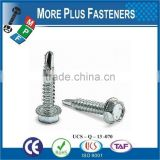Made in Taiwan DIN 7504 K UNI 8117 K EN ISO 15480 Hexagon Head Drilling Screw with Collar and Drilling Screw Thread