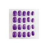 Purple 3D Cracking Nails Full Cover ABS Plastic Fake Fingernail OEM / ODM