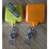 Badge Holder Type factory direct cheap plastic suqare retractable name badge holder yoyo pull reel with alligator clip
