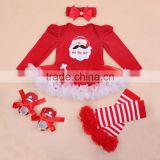 Best Seller Eco-friendly Infant Baby Girls Christmas Santa Dress Romper Sets Outfits