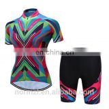 Colorful Women Cycling Jersey Bike Wear (Bib) shorts set Outdoor Sportwear Short Sleeve Cycling Clothing Suit