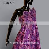 purple color african double organza lace fabric