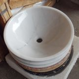 Guangxi White Marble Bathroom Vessel Round Sink Natural Stone Wash Basin