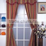 Hot Selling Factory Yarn Dyed Jacquard Stripe Polycotton Window Curtain With Attached Fringe Valance With 2 Tie Backs                                                                         Quality Choice