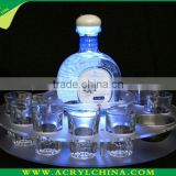 LED customized acrylic bottle tray or cups holder