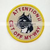 Label maker supply good quality custom design felt sew-on embroidered dog patches no minimum