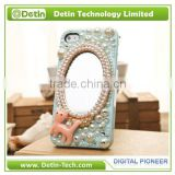 Rhinestone Pearl Accessories Mobile Cover With Make-Up Mirror for any brand phone models