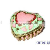 Enamel Heart blue and pink valentine's day gift ring box trinket box, jewelry box,jewelry case with crystals