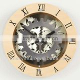 wood moving-gear wall clock with glass cover, decorative modern clock