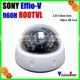 High performance plastic indoor dome camera with 2.8-12mm manual zoom lens osd menu sony Effio-V ir camera 800TVL Vision Star