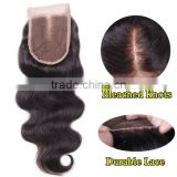 Brazilian Body Wave Top Closure Unprocessed Human Hair Lace Closure Bleached Knots with Baby Hair