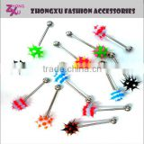 new custom high quality stainless steel body jewelry silicone tongue ring
