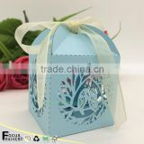 C234 Wedding souvenirs wedding chocolate candy box laser cut bird with ribbon wedding party