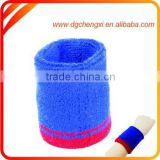 2015 customized blue and red sports cotton wristband &sweatband