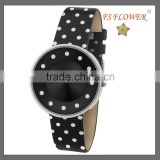 FS FLOWER - PU Leather Silk Cloth Spots Fashion Female Watches Promotional Products