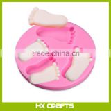 FDA LFGB Approved Pretty Baby Feet Fondant Mold Wedding Silicone Cake Mould Decoration Baking Tool