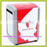 Chinese manfacturer tin tissue box holder with different designs red degin napkin holder