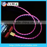 2014 New Generation visible flow led light usb charging sync cable for micro jack mobile phone