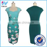Womens Elegant Vintage Flower Floral Print Charming Casual Party Bodycon Sheath Fitted Vestidos Pencil Dresses Dress