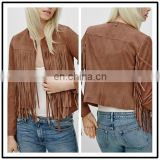 Chinese Clothing Wholesalers Winter Long Sleeve Fashion Sexy Women Fringe Suede Leather Jackets USA NT6494