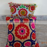 Indian Suzani Embroidered Cushion Covers Uzbek Throw Pillow cover Cushion Embroidered Ethnic decorative Vintage cases handmade