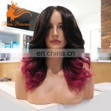 Middle Part Natural Color And BUG Wavy Virgin Inidan Human Hair Lace Front Wig WIth Baby Hair Ombre Wave Fashion Red Wig Onsale
