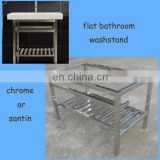 flat house bathroom washstand, modern vanity base, stainless steel frames