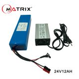 Rechargeable lithium ion battery 24V 12Ah with charger for ebike e-scooter electric wheelchair