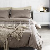 Summer 100% Cotton Bamboo Decorative Custom Bed sheet with Pillow Case Cover Pure White