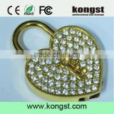 100% real capacity metal crystal heart necklace jewelry diamond Memory usb flash drives 4gb8gb16gb wedding gift usb