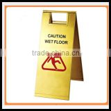 Folding Golden Stainless Steels caution wet floor stand sign_ Pedestal Signs Stand_Portable hotel lobby warning sign
