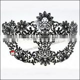 fancy Luxury Black elegant Metal Laser Cut Venetian Mask Innovation Rhinestones