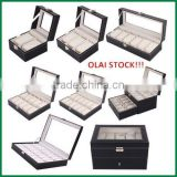 Mens Pu Leather Watch Box,Stock Watch Gift Box Wholesale, 2/3/4/6/10/12/20/24 Slots Watch Storage Packaging With Window