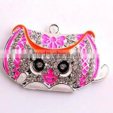 Wholesale large 48*30mm fashion silver alloy rhinestone bag pendants for kids jewelry making