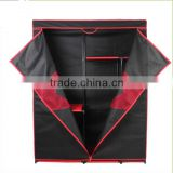 Steel tube folding portable fabric wardrobe with cover/Fabric Non-wowen Large Space Bedroom Wardrobe