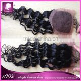 3 parting lace closure deep wave 100% virgin brazilian silk base closures with baby hair
