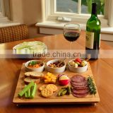 New Picnic Square Bamboo Entertaining Serving Tray with 3 Ceramic Bowl's holder bamboo cutting board with Juice groove