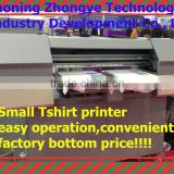 Small and cheap/lowest price T-shirt printer for CE certificate, T shirt textile printing machine, the print width 30*40cm*2