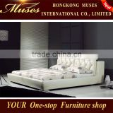 2014 new Bedroom furniture hotel furniture,wood double bed models,leather king size bed black for Christmas promotion