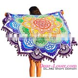 open sexy girl full photo Colorful Printing Round Beach Towel