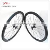 Track bicycle wheels carbon! Cheap Chinese 38mm x 25mm clincher carbon track bike wheelset Single speed hub fixed gear