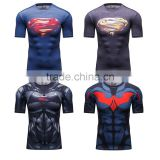 Avengers superman/bat-man marvel cartoon super hero clothing apparel men's slim fit digital print round neck short sleev t shirt