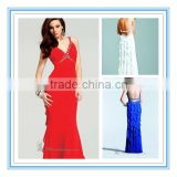 Shoulder Straps Chiffon Backless Low Back Chiffon The Most Beautiful Evening Dress (EVFA-1029)