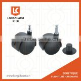 50mm or 40mm Stem Black casters with brake or without brake from castor wheel manufacturer