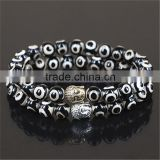 KJL-0091 Men Custom Natural Stone Black Evil Eye Agate Beads Bracelet, Tibetan Bracelet, Yoga Buddha Bracelet