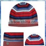 multi-color stripe custom knitted cuff beanie hat/custom boys beanie hat/cap and hat in china