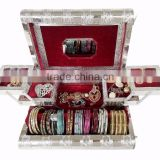 SILVER METAL FINISH PREMIUM WOODEN JEWELLERY BOX / BANGLE BOX