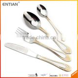 Home goods dinnerware flatware set with stand gold plated cutlery