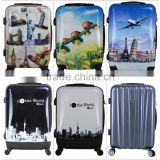 2016 Newest design travel luggage case cheap PC printing trolley luggage with lock and 4 universal wheels